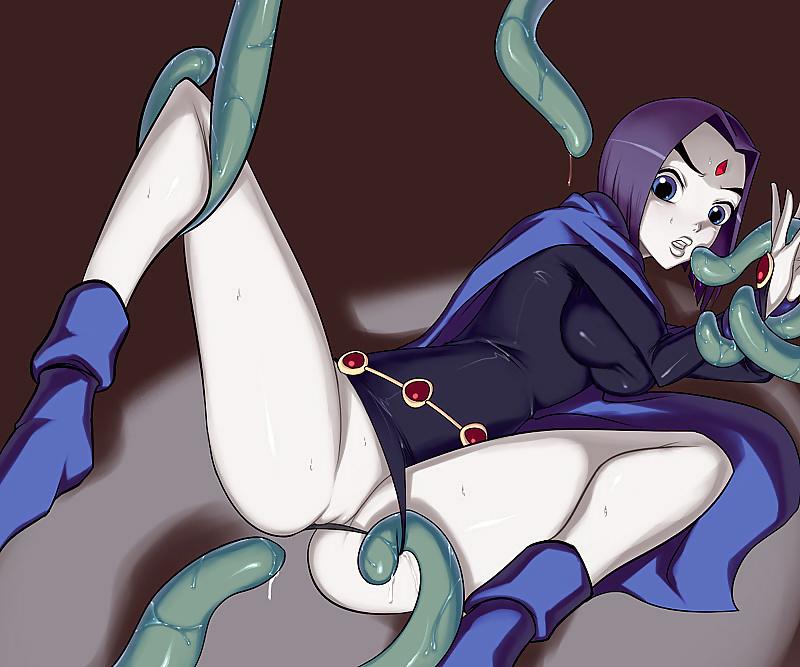 Raven Sexo con el mostrons tentaculos lubricados.